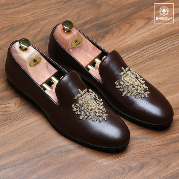 Brown Leather Ethnic Crest Zardosi Slip-On By Bareskin