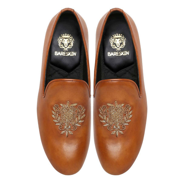 Tan Leather Crest Zardosi Slip-On By Bareskin