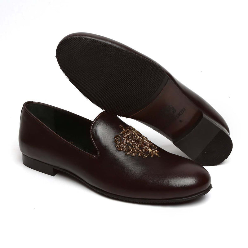 Brown Leather Crest Zardosi Ethnic Slip-On By Bareskin
