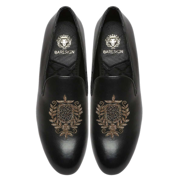 Black Leather Crest Zardosi Ethnic Slip-On By Bareskin