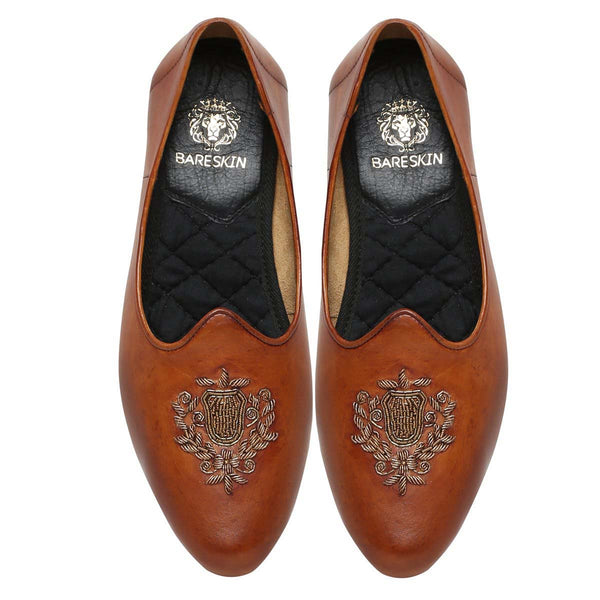 Dk. Tan Leather Ethnic Crest Zardosi Jalsa By Bareskin