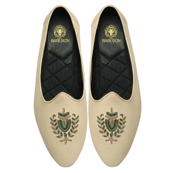 Green Royal Crest Zardosi in Dove leather Jalsa By Bareskin