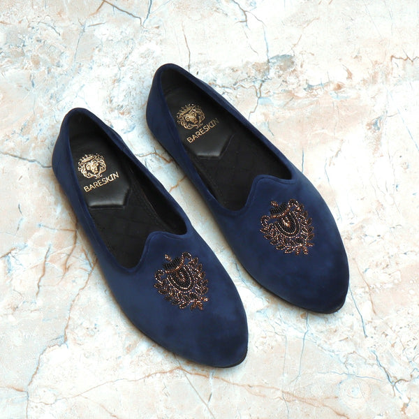 Blue Velvet Golden Royal Crest Zardosi Jalsa By Bareskin