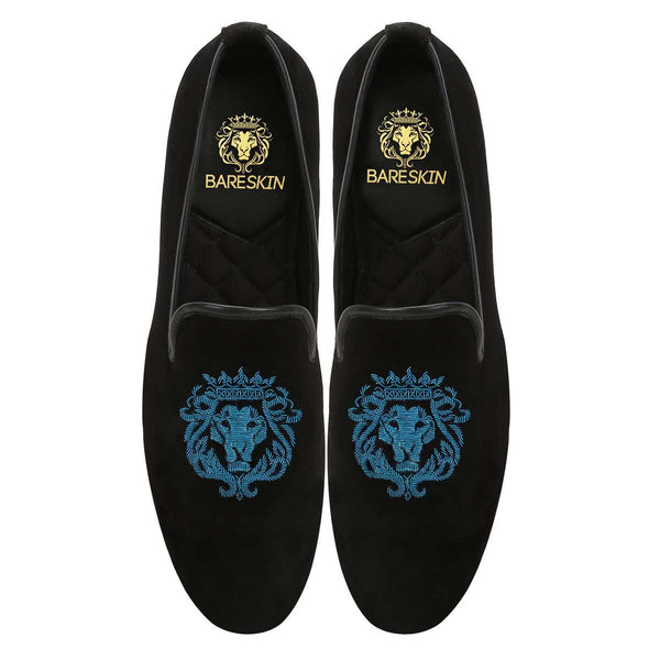 Cyan Lion Zardosi Black Velvet Slip-On by BARESKIN