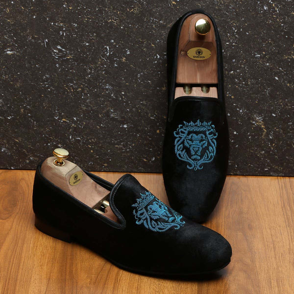 Cyan Bareskin Lion Zardosi Black Velvet Slip-On