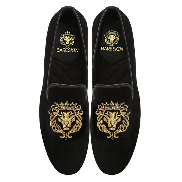 Gold Bareskin Lion Zardosi Black Velvet Slip-On