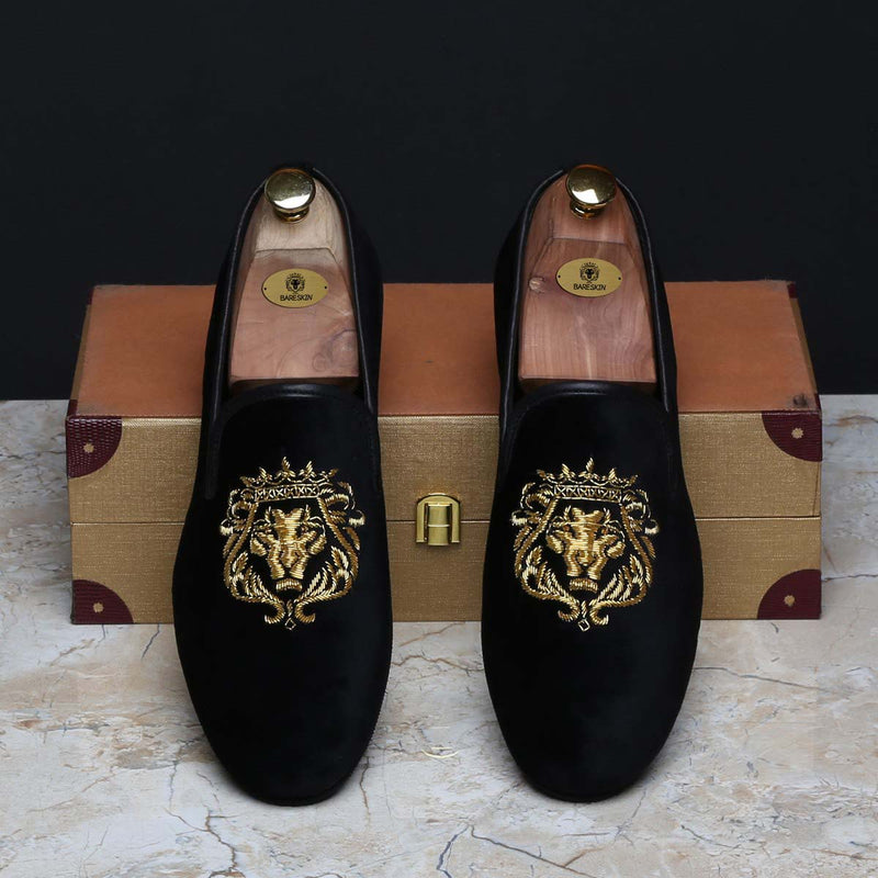 Gold Lion Zardosi Black Velvet Slip-On by BARESKIN
