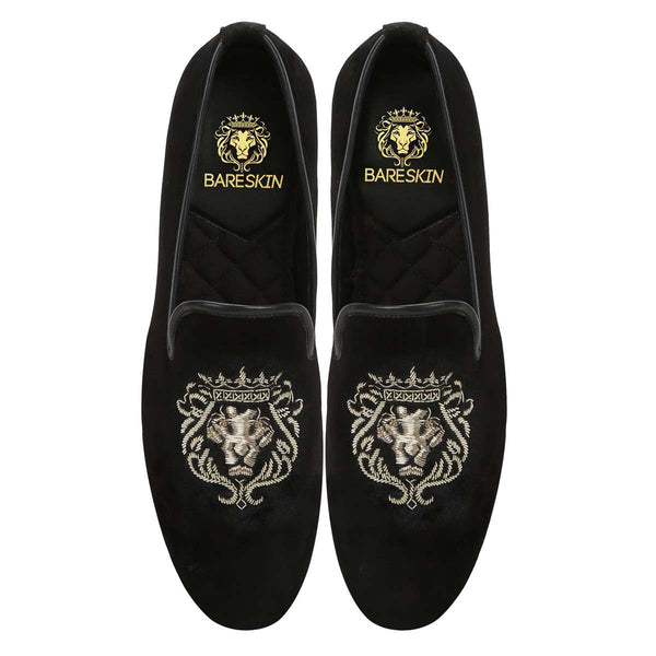 Mild Gold Lion Zardosi Black Velvet Slip-On  by BARESKIN