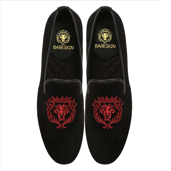 Red Crown Bareskin Lion Zardosi Black Velvet Slip-On