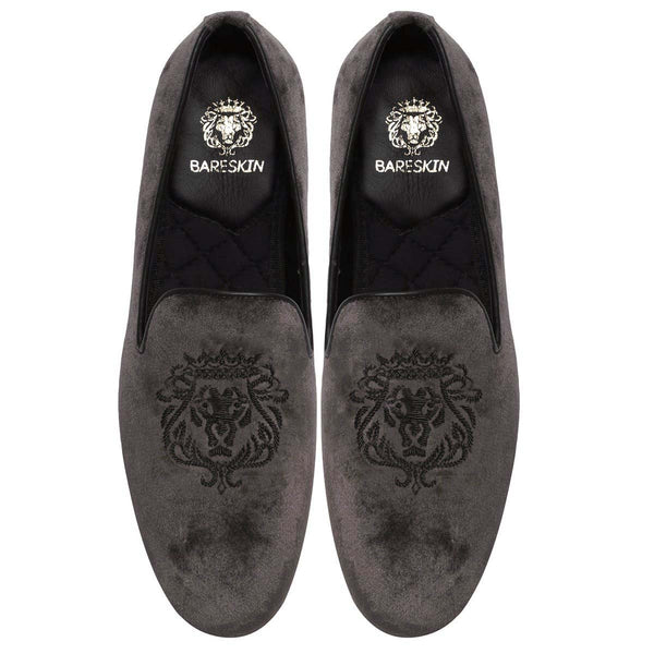 Black Bareskin Lion Zardosi Grey Velvet Slip-On