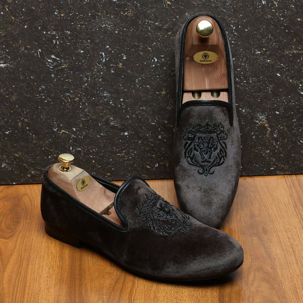 Grey Velvet Black Lion Zardosi Slip-On by BARESKIN