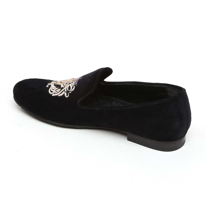 Purple Crown Lion Zardosi Black Velvet Slip-On by BARESKIN