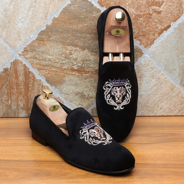 Purple Crown Bareskin Lion Zardosi Black Velvet Slip-On