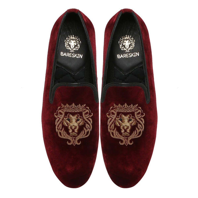 Golden Bareskin Lion Zardosi Red Velvet Slip-On