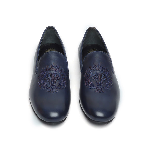 Blue Leather Lion Zardosi Slip-On by BARESKIN