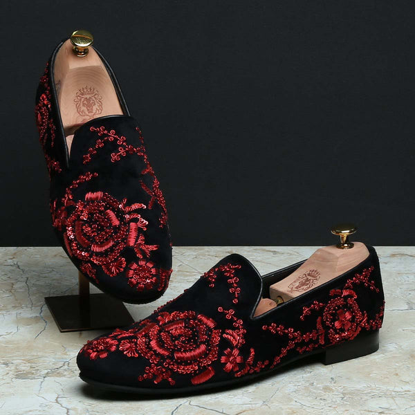Black Velvet Red Zardosi Embroidery Slip-On Shoes By Bareskin