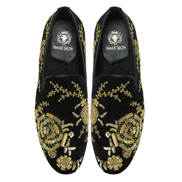 Black Velvet Golden Zardosi Embroidery Slip-On Shoes By Bareskin