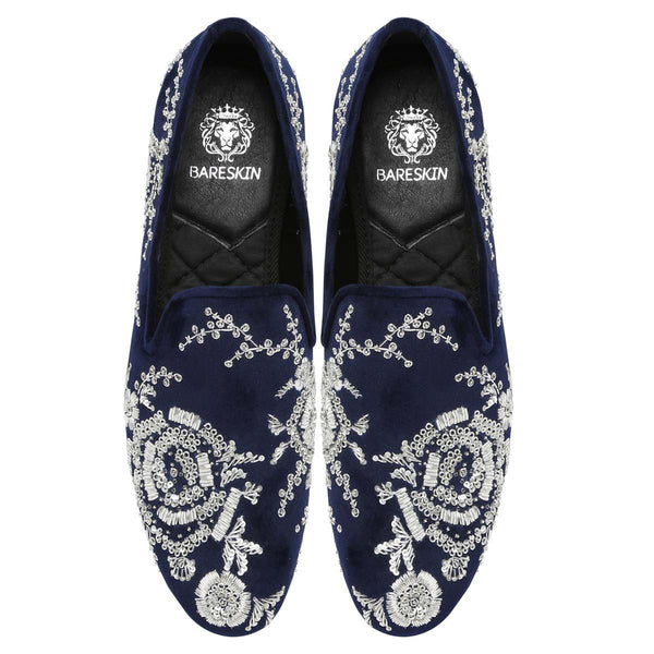 Blue Velvet Silver Zardosi Embroidery Slip-On Shoes By Bareskin