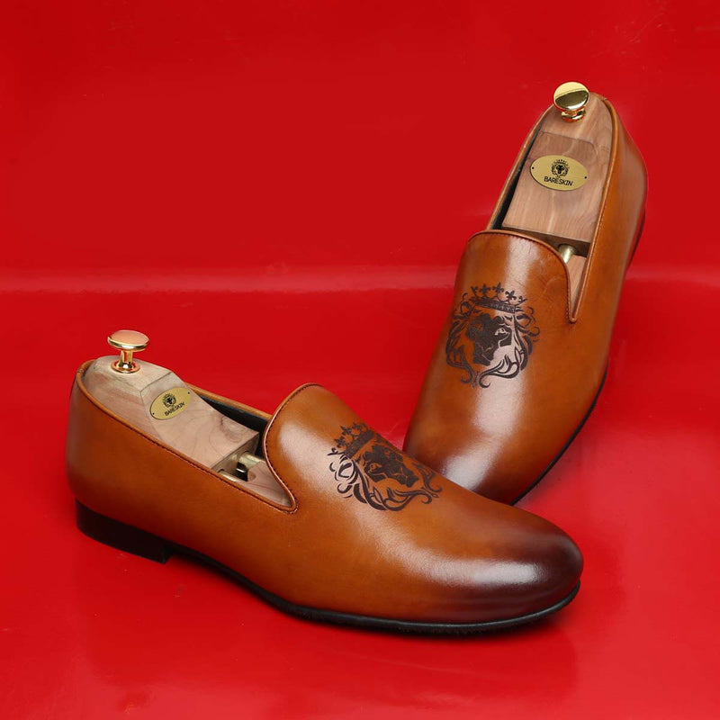 Tan Leather / Lion-King Laser Print Slip-On Shoes By Bareskin