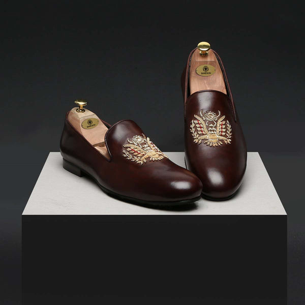 Crown Eagle Zardosi Brown Leather Slip-On By Bareskin