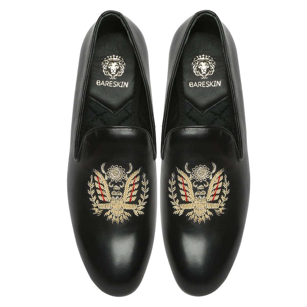 Crown Eagle Zardosi Black Leather Slip-On By Bareskin