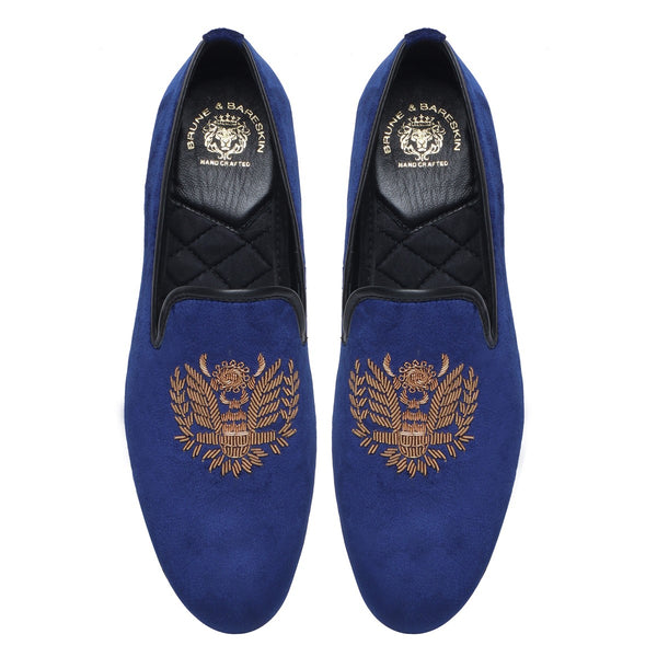 Crown Eagle Zardosi Blue Velvet Slip-On By Bareskin