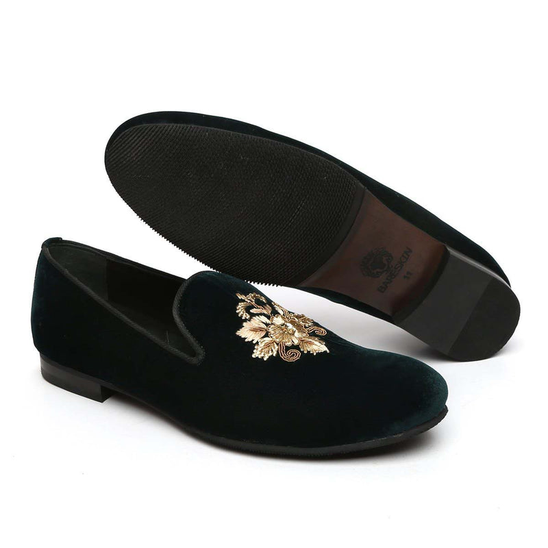 Sleek Flower Zardosi Forest Green Slip-On By Bareskin