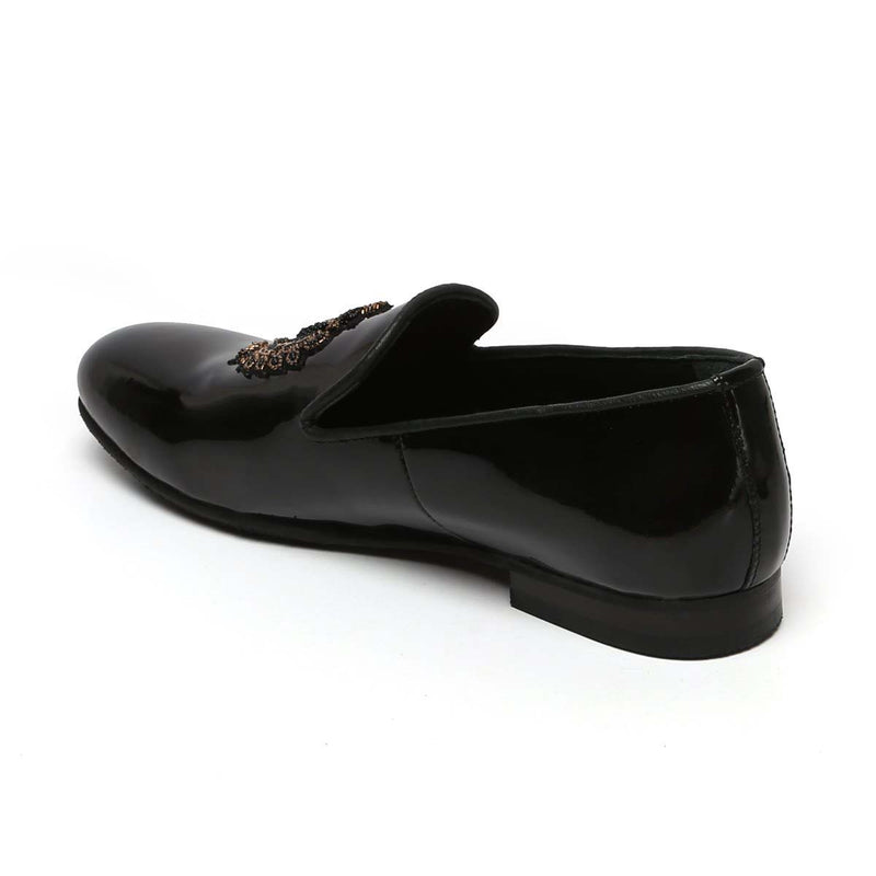 Patent Black Golden Royal Crest Zardosi Leather Slip-On By Bareskin
