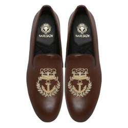 Anchor Crown Crest Zardosi Brown Leather Slip-On