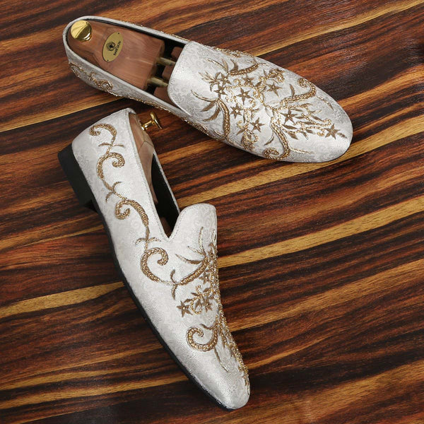 Graceful White Golden Zardosi Slip-Ons By Bareskin