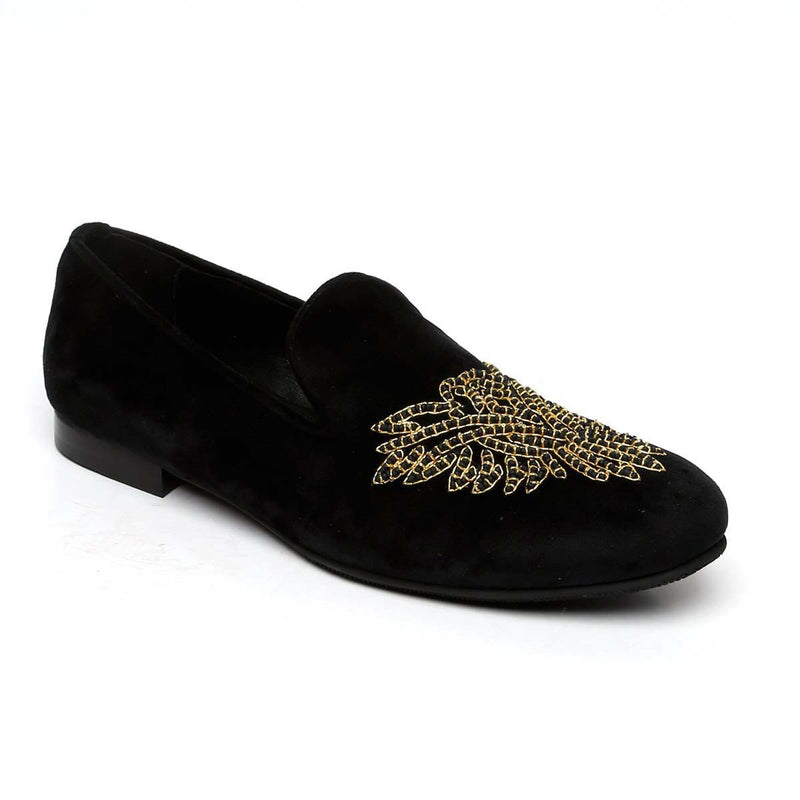 Abstract Golden Eagle Zardosi Black Velvet Slip-Ons By Bareskin