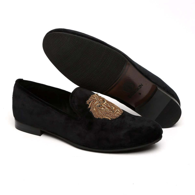 Black Velvet Lion Zardosi Slip-On Shoes By Bareskin