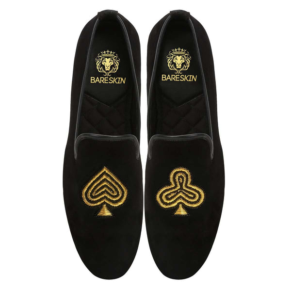 Black-Golden Poker Zardosi Black Velvet Slip-On Shoes By Bareskin