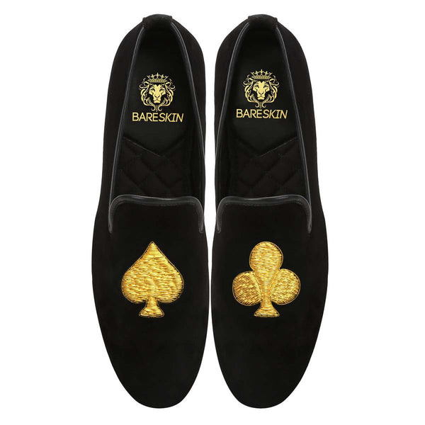 Golden Poker Zardosi Black Velvet Slip-On Shoes By Bareskin
