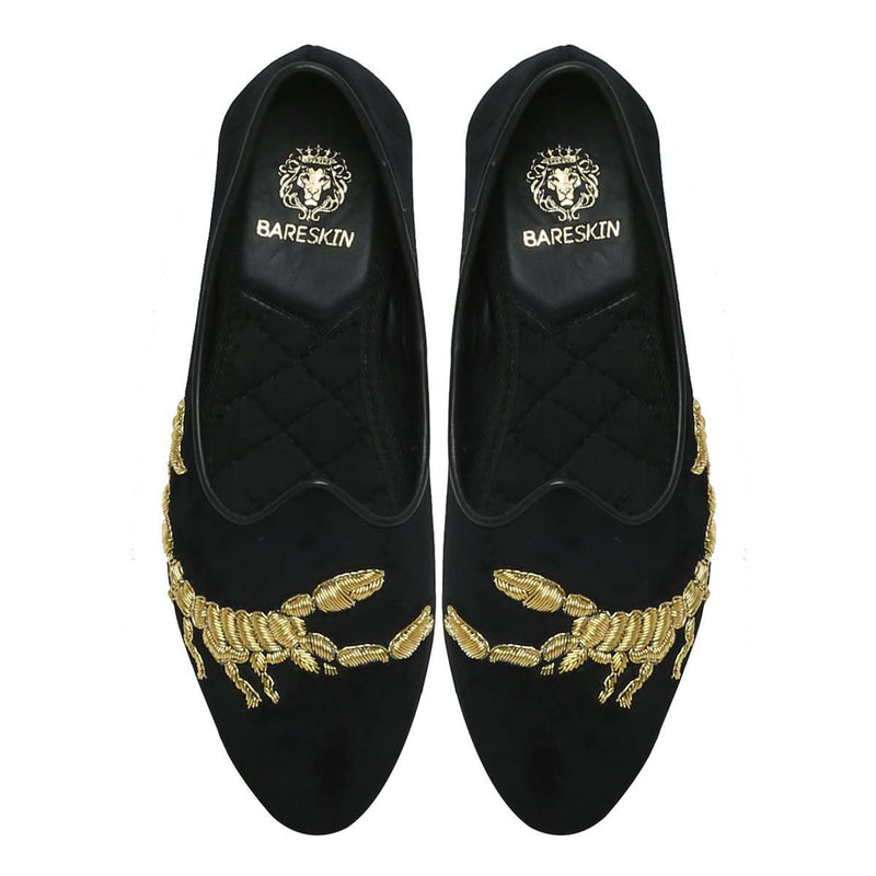 Golden Scorpion Zardosi Black Velvet Jalsa Jutti By Bareskin