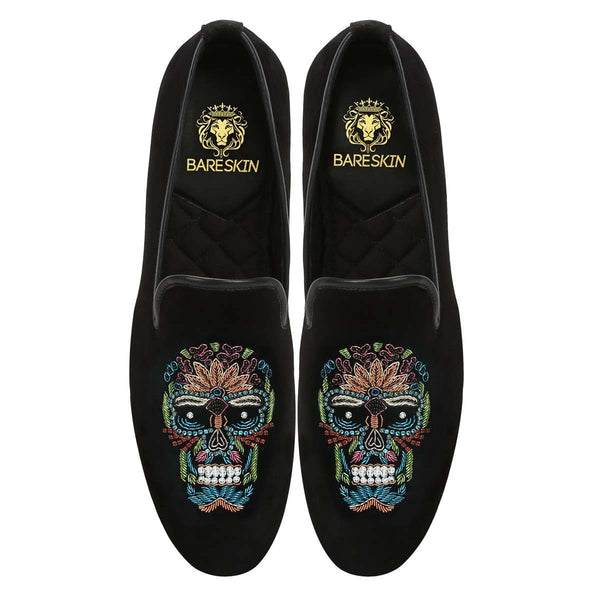 Multi-Colored Zardosi Skull Black Velvet Slip-On By Bareskin