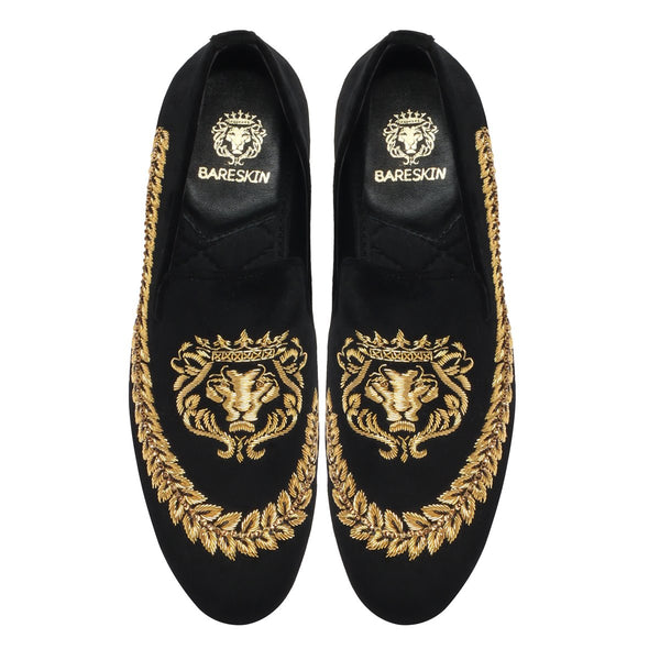BARESKIN GOLDEN LION LOGO HAND ZARDOZI SLIP-ON WITH STEM DESIGN .