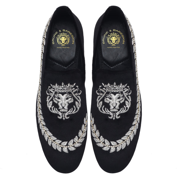 Bareskin Silver Lion Logo Hand Zardosi Slip-on With Stem Design