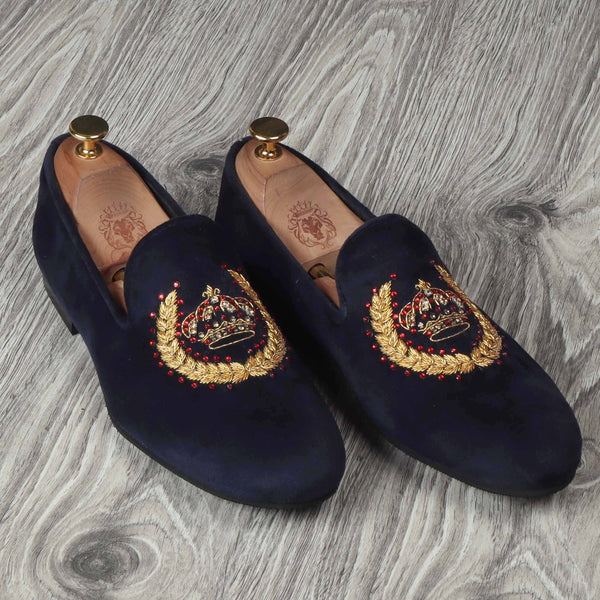 Crown Crest Zardosi With Stem Design Blue Velvet  Slip-On