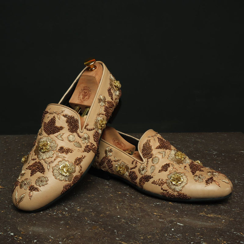 Biege Leather Copper Gold Zardosi Embroidery Slip-On Shoes By Bareskin