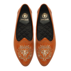 Tan Leather Zardosi Lion Jalsa Jutti for Men by BARESKIN