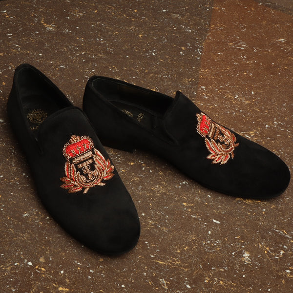 Red-Golden Anchor Crown Crest Zardosi Black Velvet Slip-On