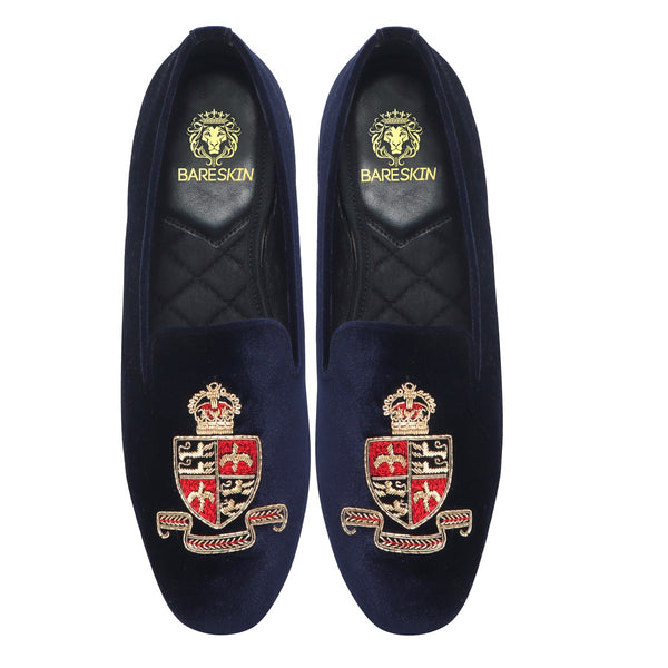 Navy Blue Royal Emblem Zardosi Snug Fit Italian Velvet Slip-On by BARESKIN