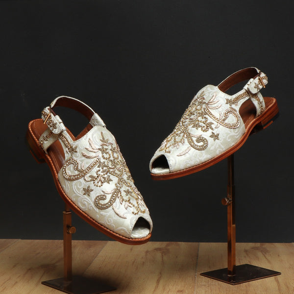 White Full Zardosi Peshawari Sandal with Leather Sole by BRUNE