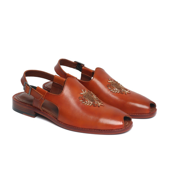 Tan Leather Open Toe Design Hand Zardosi Peshawari Sandals by BRUNE