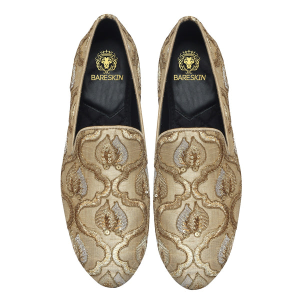 Beige Leaves Inspired Zardosi Slip-On by BARESKIN
