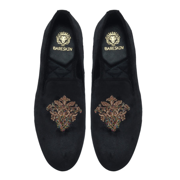 Fiore Zardosi Black Velvet Slip-On by Bareskin