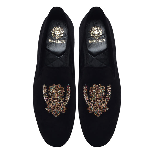 Multi Colour Floral Zardosi Black Slip-on By BARESKIN