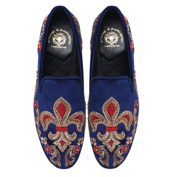 Fleur-de-lis Blue Velvet With Red & Golden Zardosi Slip-on by Bareskin