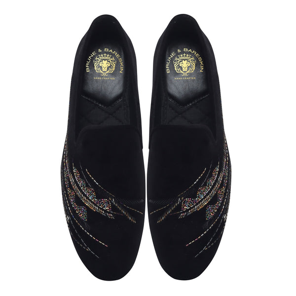 Black Velvet Multi Colour Abstract Embellishments Slip-On Shoes By Bareskin